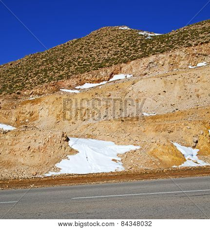 Hill In   Africa Morocco The Atlas Valley Dry Mountain Ground Isolated