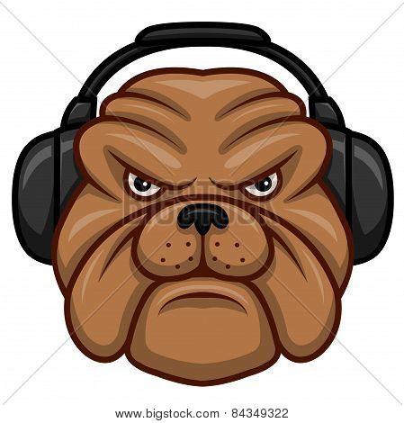 Bulldog with headphones.eps