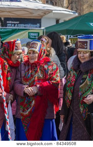Elderly Ladies In Folk Costumes.