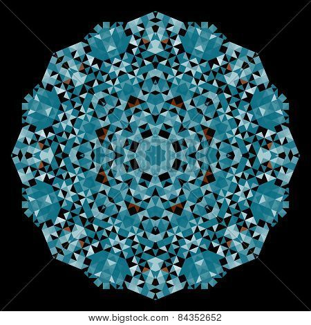 Abstract Flower. Creative Colorful Style Vector Wheel. Cyan Black Dominant Color