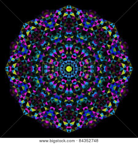 Abstract Flower. Creative Colorful Style Vector Wheel. Cyan Magenta Yellow Black Dominant Color