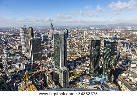 Aerial Of The Financial District In Frankfurt