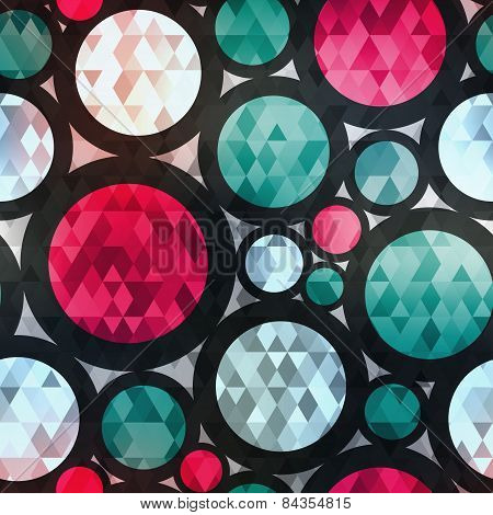Retro Circle Seamless Texture With Diamond Effect