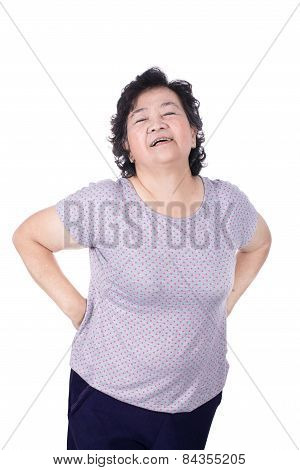 Asian Elderly Woman With A Sick Back, Backache, Isolated On A White Background
