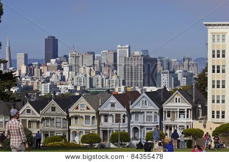 Alamo Square And The Painted Ladies Victorian Houses