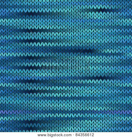 Style Seamless Knitted Melange Pattern. Blue Turquoise Black White Color Vector Illustration