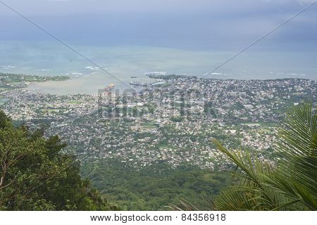 View to the Puerto Plata city from the top of Pico Isabel de Torres in Puerto P