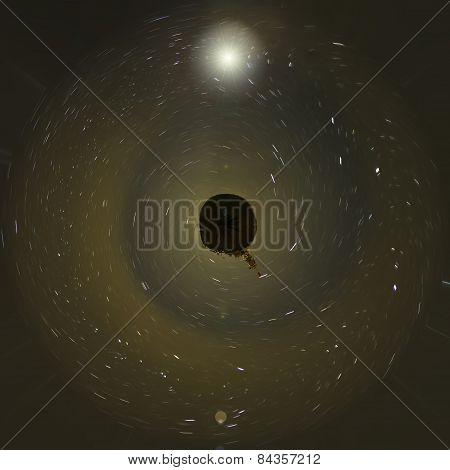 Abstract black world with starry night. Color image