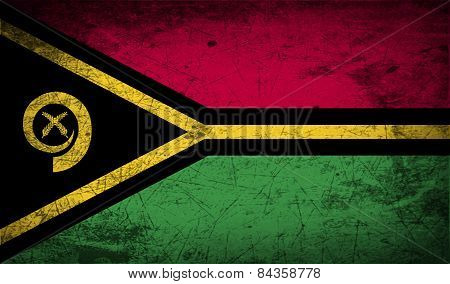Flag Of Vanuatu With Old Texture. Vector