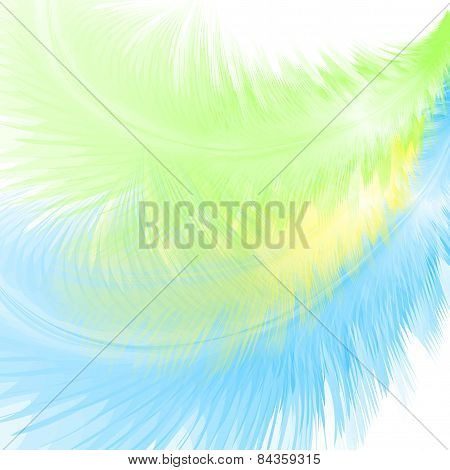 Abstract Background With Blue And Green Feathers. Eps10