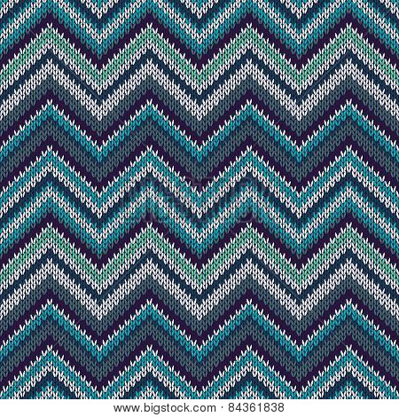 Seamless Geometric Ethnic Spokes Knitted Pattern. Blue White Beige Color Knitwear Sample