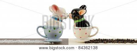 Salt and pepper shakers french bulldogs isolated on white