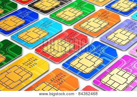 Group of color SIM cards