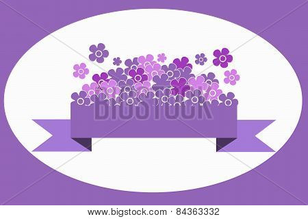 Lilac and pink flowers on a lilac ribbon