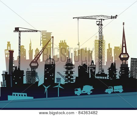Building site with cranes. City background