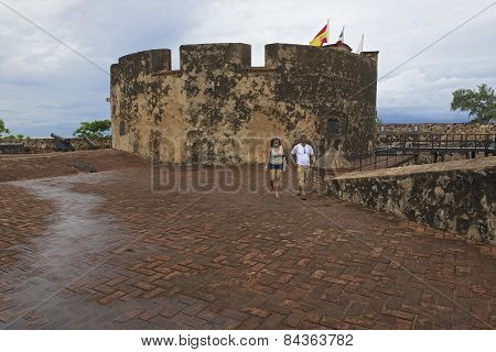 Tourists explore San Felipe Fort in Puerto Plata, Dominican Republic.