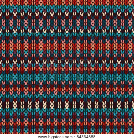 Seamless Ethnic Geometric Knitted Pattern. Style Red Blue Orange Brown Yellow Background?