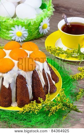 Easter Cake With White Glaze And Apricots