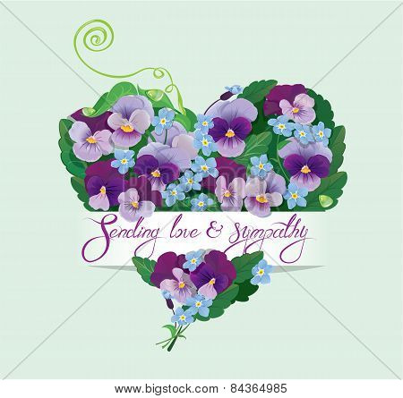 Heart Shape Is Made Of Beautiful Flowers - Pansy And Forget Me Not - Floral  Background For Birthday