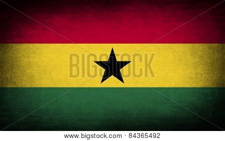 Flag Of Ghana With Old Texture. Vector