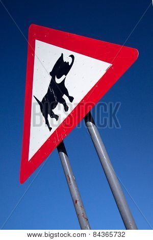 Sign to caution drivers of warthogs