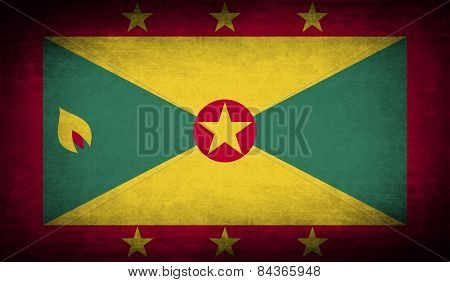 Flag Of Grenada With Old Texture. Vector