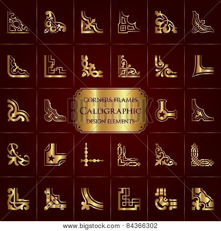 Vector set of 28 calligraphic corners and frames in gold