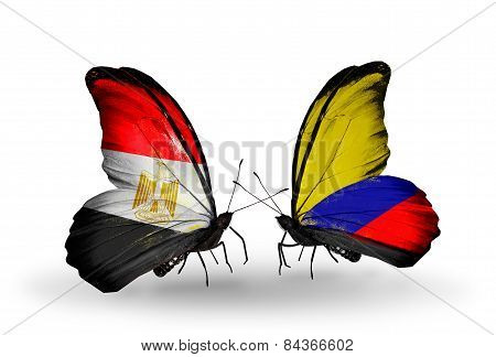 Two Butterflies With Flags On Wings As Symbol Of Relations Egypt And Columbia