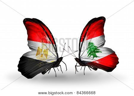 Two Butterflies With Flags On Wings As Symbol Of Relations Egypt And Lebanon
