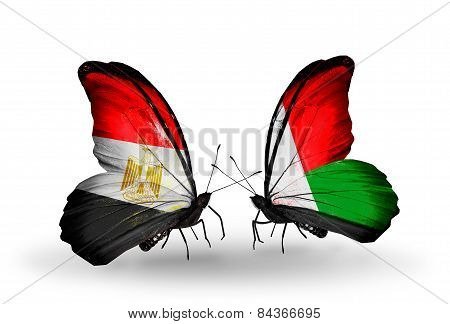 Two Butterflies With Flags On Wings As Symbol Of Relations Egypt And Madagascar