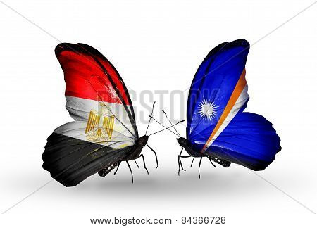 Two Butterflies With Flags On Wings As Symbol Of Relations Egypt And Marshall Islands