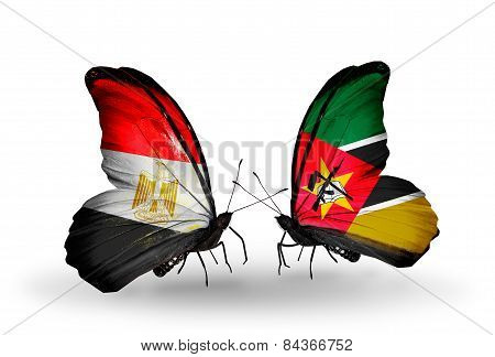 Two Butterflies With Flags On Wings As Symbol Of Relations Egypt And Mozambique