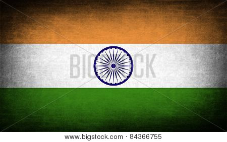 Flag Of India With Old Texture. Vector
