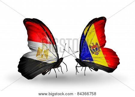 Two Butterflies With Flags On Wings As Symbol Of Relations Egypt And Moldova