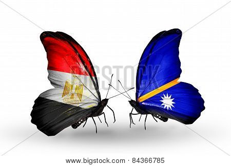 Two Butterflies With Flags On Wings As Symbol Of Relations Egypt And Nauru