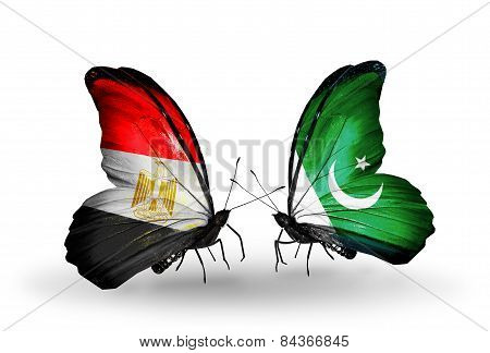 Two Butterflies With Flags On Wings As Symbol Of Relations Egypt And Pakistan