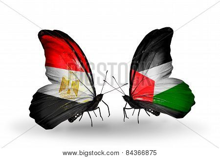 Two Butterflies With Flags On Wings As Symbol Of Relations Egypt And Palestine