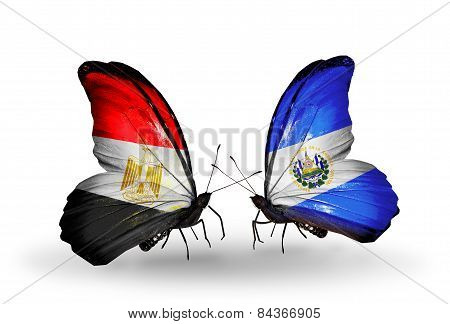 Two Butterflies With Flags On Wings As Symbol Of Relations Egypt And Salvador