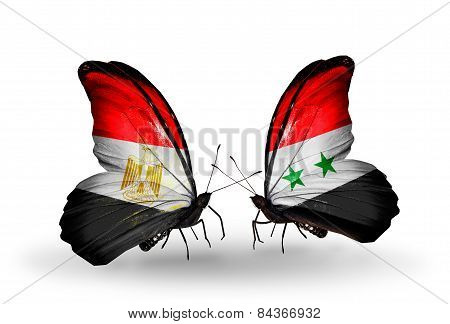 Two Butterflies With Flags On Wings As Symbol Of Relations Egypt And Syria