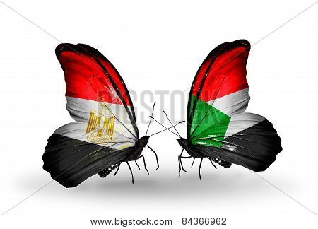 Two Butterflies With Flags On Wings As Symbol Of Relations Egypt And Sudan