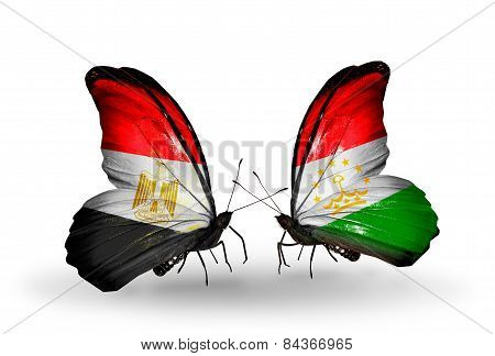 Two Butterflies With Flags On Wings As Symbol Of Relations Egypt And Tajikistan