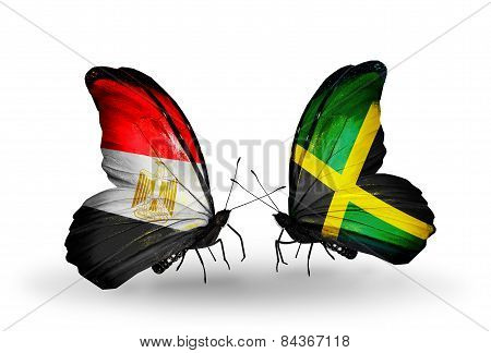 Two Butterflies With Flags On Wings As Symbol Of Relations Egypt And Jamaica