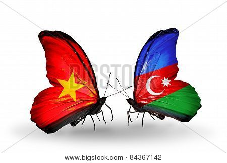 Two Butterflies With Flags On Wings As Symbol Of Relations Vietnam And Azerbaijan