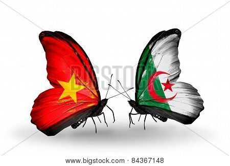 Two Butterflies With Flags On Wings As Symbol Of Relations Vietnam And Algeria