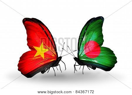 Two Butterflies With Flags On Wings As Symbol Of Relations Vietnam And Bangladesh