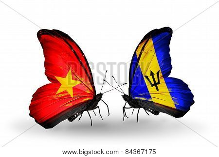 Two Butterflies With Flags On Wings As Symbol Of Relations Vietnam And Barbados