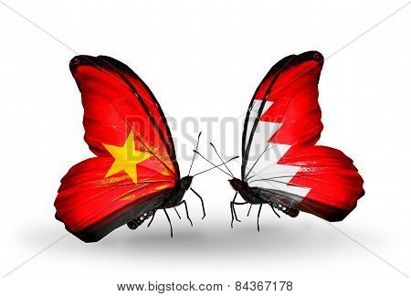 Two Butterflies With Flags On Wings As Symbol Of Relations Vietnam And Bahrain