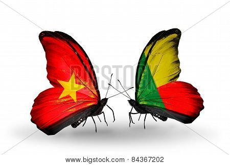 Two Butterflies With Flags On Wings As Symbol Of Relations Vietnam And Benin