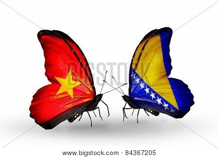 Two Butterflies With Flags On Wings As Symbol Of Relations Vietnam And Bosnia And Herzegovina