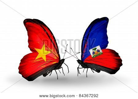 Two Butterflies With Flags On Wings As Symbol Of Relations Vietnam And Haiti